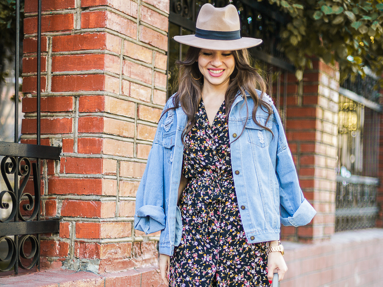 fashion-blogger-diyorasnotes-lookoftheday-vintage-dress-deim-jacket-romwe-uncle-boots-zara-bag-beige-hat