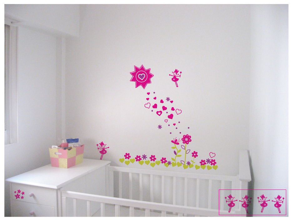 Vinilos decorativos infantiles florales y de adultos - Vinilos decorativos habitacion ...