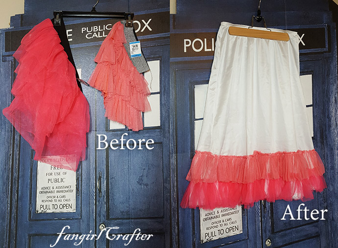 Before and after of Kaylee Frye inspired dress slip