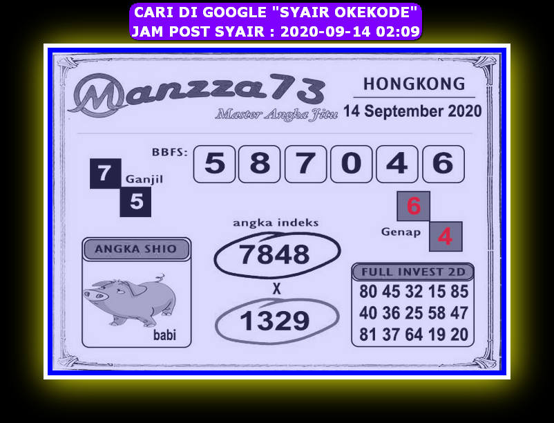 Kode syair Hongkong Senin 14 September 2020 216