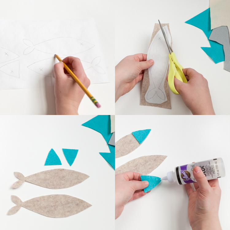 step by step instruction felt fish glue scissors cut make your own diy