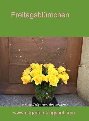 Pin gelbe Rosen und Ahornzweige