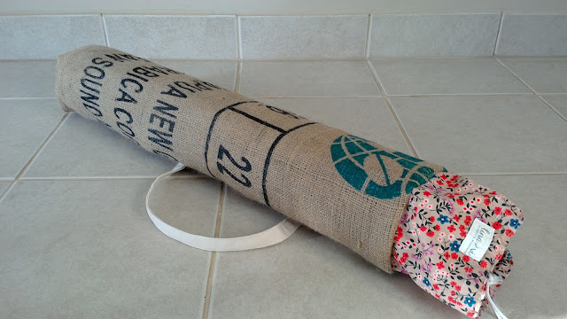 Burlap Coffee Bean Sack Yoga Mat Bag Floral by Lina and Vi Plymouth MI