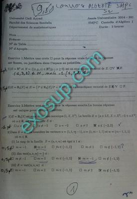 examens corrigés algèbre 2 SMPC FSSM