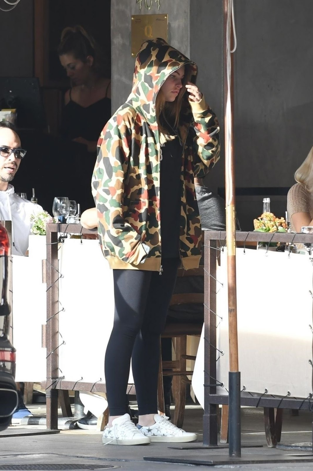Photos of Thylane Blondeau wearing hood at Pastaio for meal at Beverly Hills
