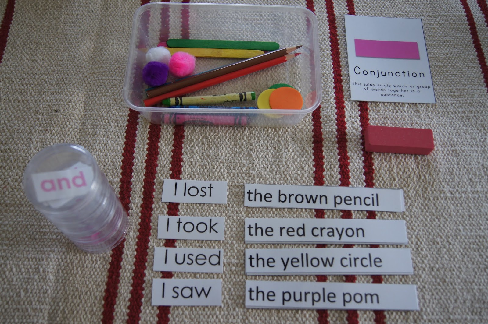 Conjunction Introduction Montessori Grammar At Home