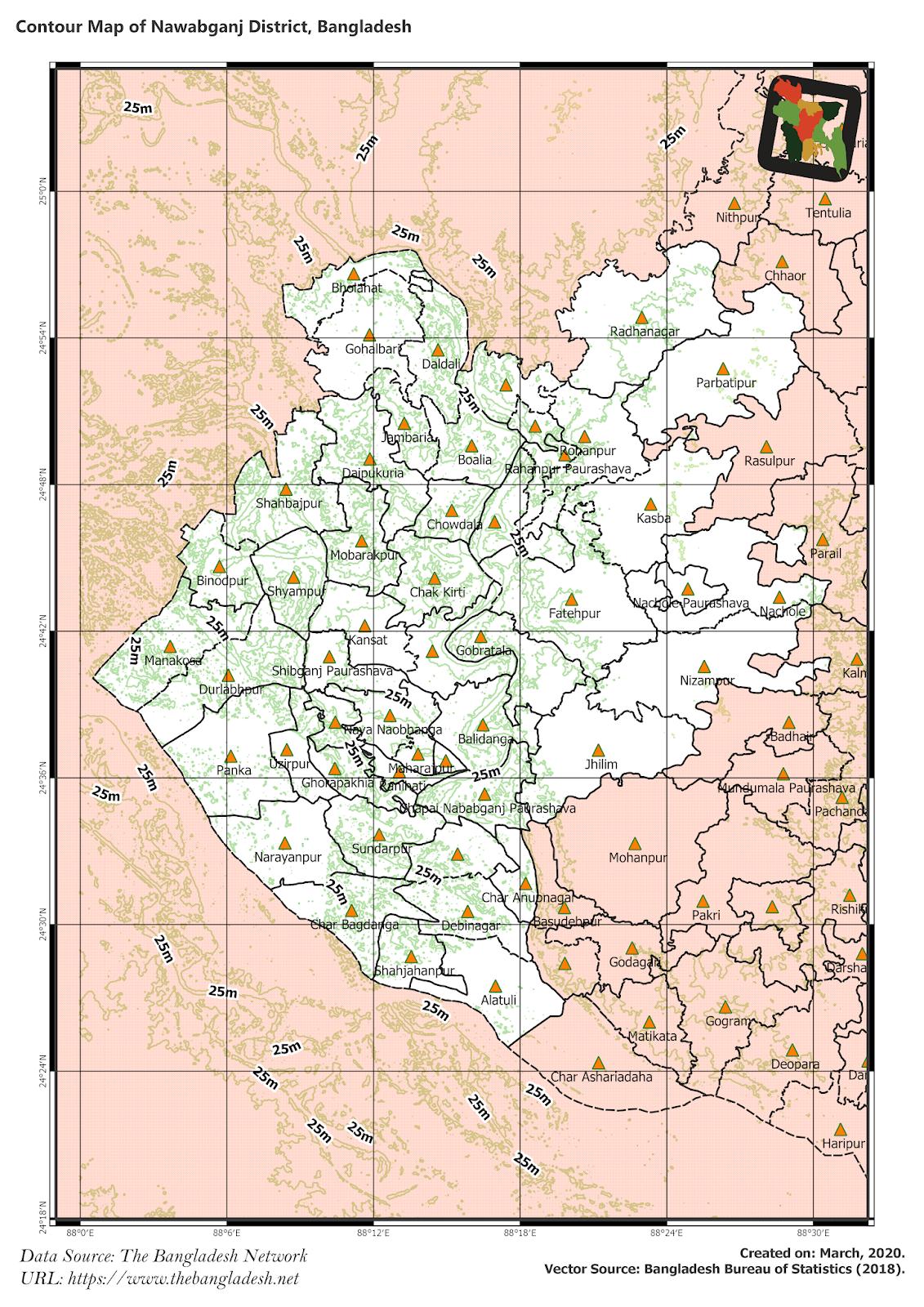 Elevation Map of Nawabganj District of Bangladesh