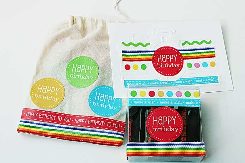 SRM Stickers Blog - Birthday Gift Set by Yvonne - #muslin #bag #clear box #birthday #stickers #borders #card