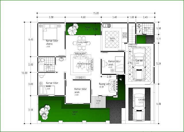 Denah Rumah Minimalis Type 120 Sederhana