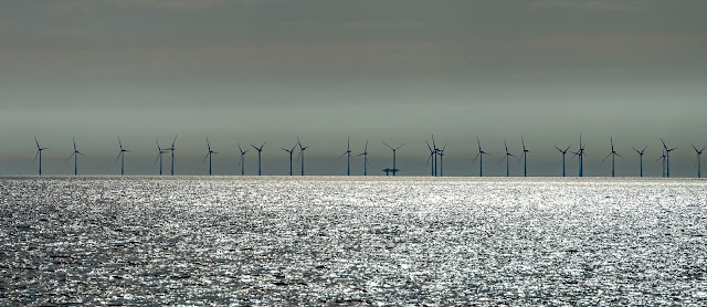 Photo of Robin Rigg wind farm, which is just off the Scottish coast