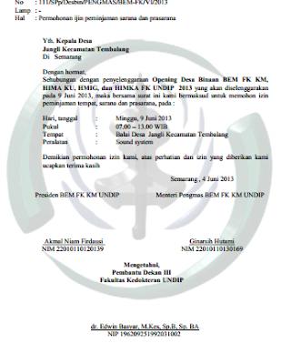 Contoh Surat Permohonan Izin Tempat Kegiatan Sekolah Osis