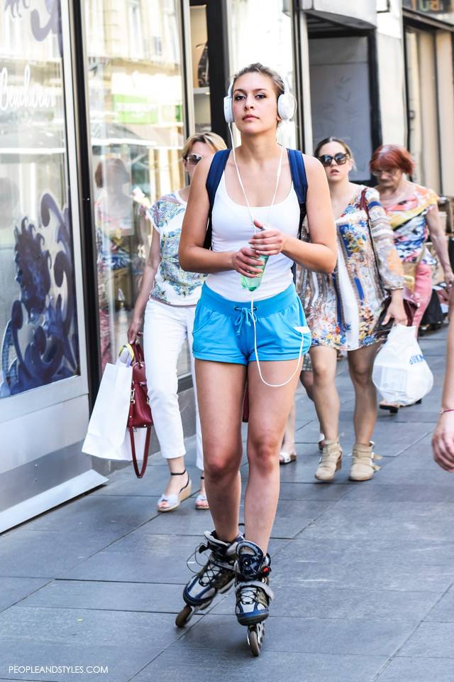 Shorts and top, girl on rollerblades street style in Zagreb, summer fashion, June 2015. What to wear to work in summer