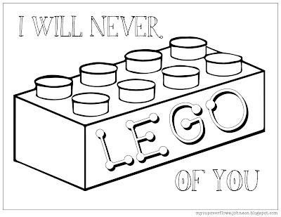 Lego valentine coloring page