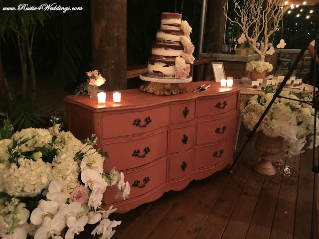 Rustic Wedding Wedding Cake and Server Set with Floral Arrangements