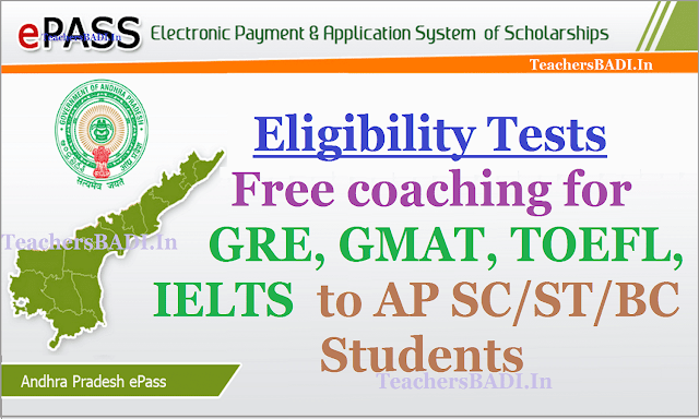 Eligibility tests Free coaching,GRE,GMAT,TOEFL, IELTS,AP SC/ST/BC students 2017