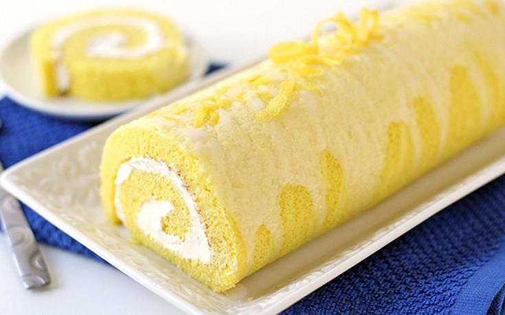 Ρολό κέικ με κρέμα λεμόνι
