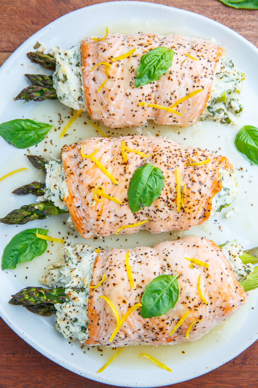 Asparagus and Lemon and Basil Ricotta Stuffed Salmon Rolls with Lemon Sauce Recipe on Closet Cooking