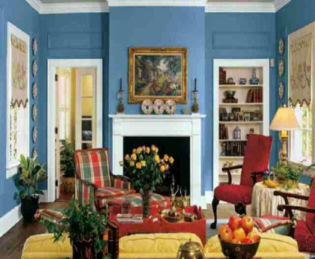 colorful vintage living room apartment wall art | Vintage Paint Colors for Walls