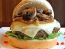 Beef and Veggie Burger with Caramelized Onions and Mushrooms