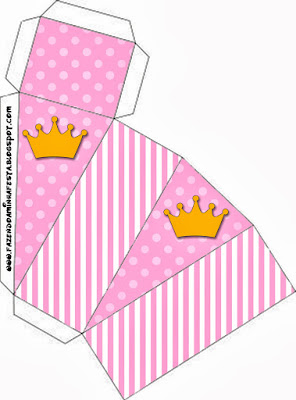 Golden Crown in Pink with Polka Dots and Stripes Free Printable Quinceanera PartyBoxes.