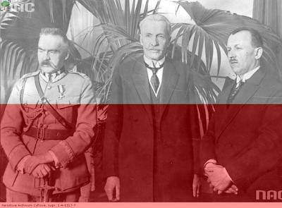 Piłsudski, Mościcki, Bartel, zaprzysiężenie prezydenta, II RP, flaga Polski, biało-czerwoni, patriotyzm