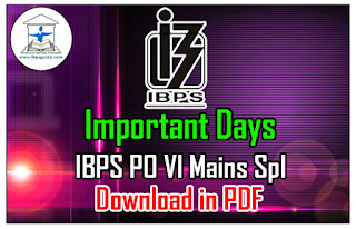 List of Important Days (National & International) IBPS PO Mains Spl – Download in PDF