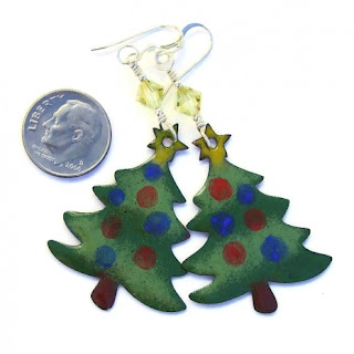 one of a kind enamel christmas tree earrings with crystals