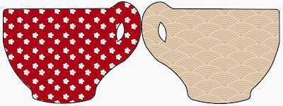 Tarjeta con forma de Taza para Imprimir Gratis de Fiesta Estilo Japonés.