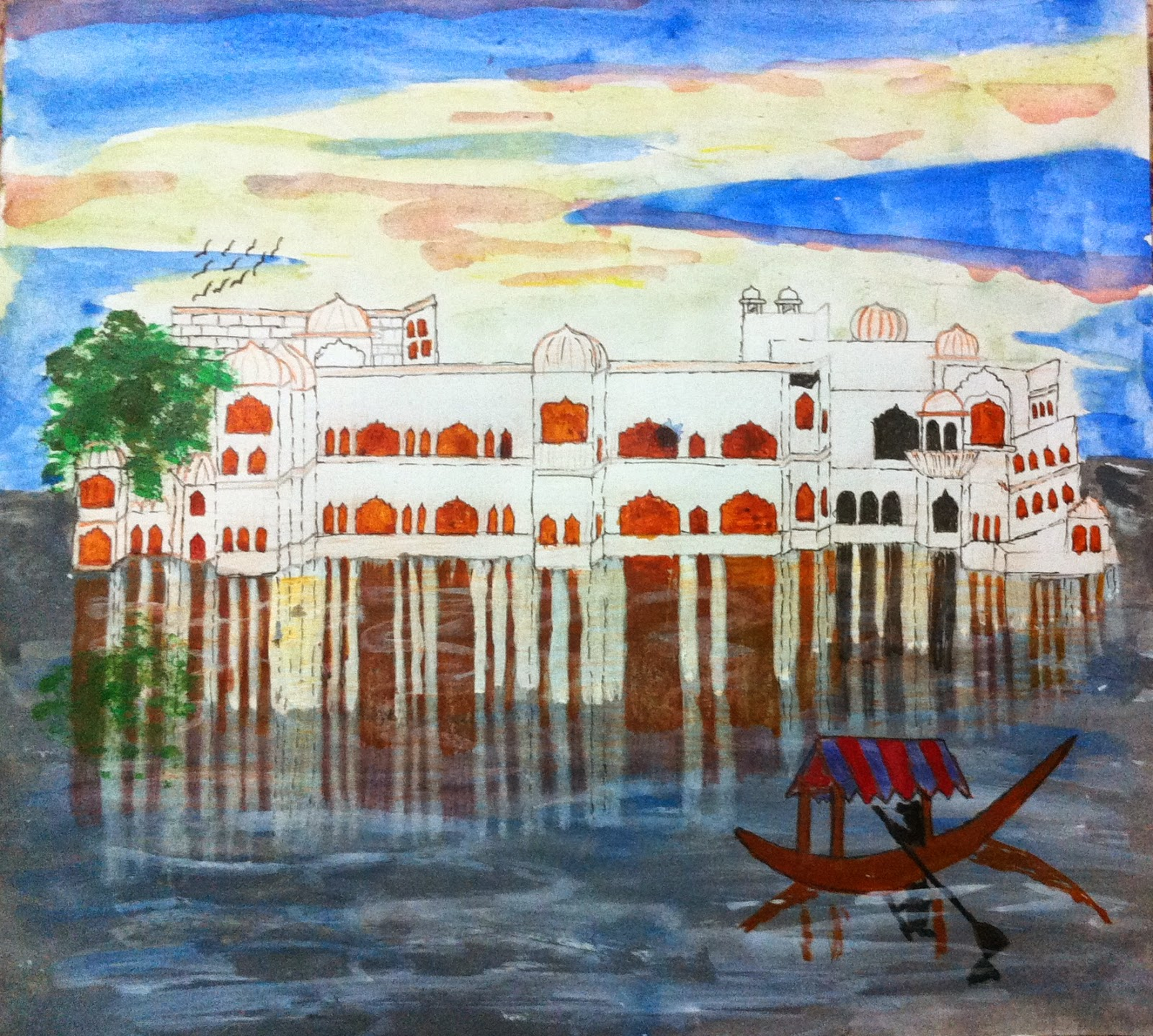 Best Ways To Make A Watercolor Painting [Lake Palace] Painting