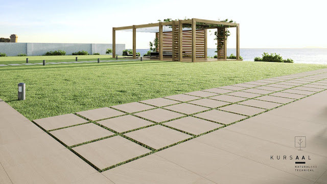 Full customization for indoor and outdoor areas with outside floor tiles design Kursaal series