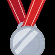 オリンピックのイラスト「銀メダル」