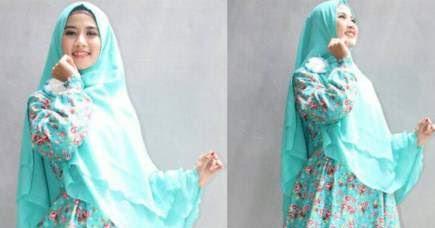 Baju gamis katun jepang motif bunga dan polkadot sedang trend Agen baju gamis katun jepang