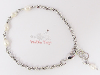 Wire Wrapped Minlet (Minima Bracelet) with pearl