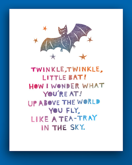 illustrated poem, twinkle,twinkle little bat