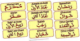 Nama hari dan bulan dalam bahasa arab