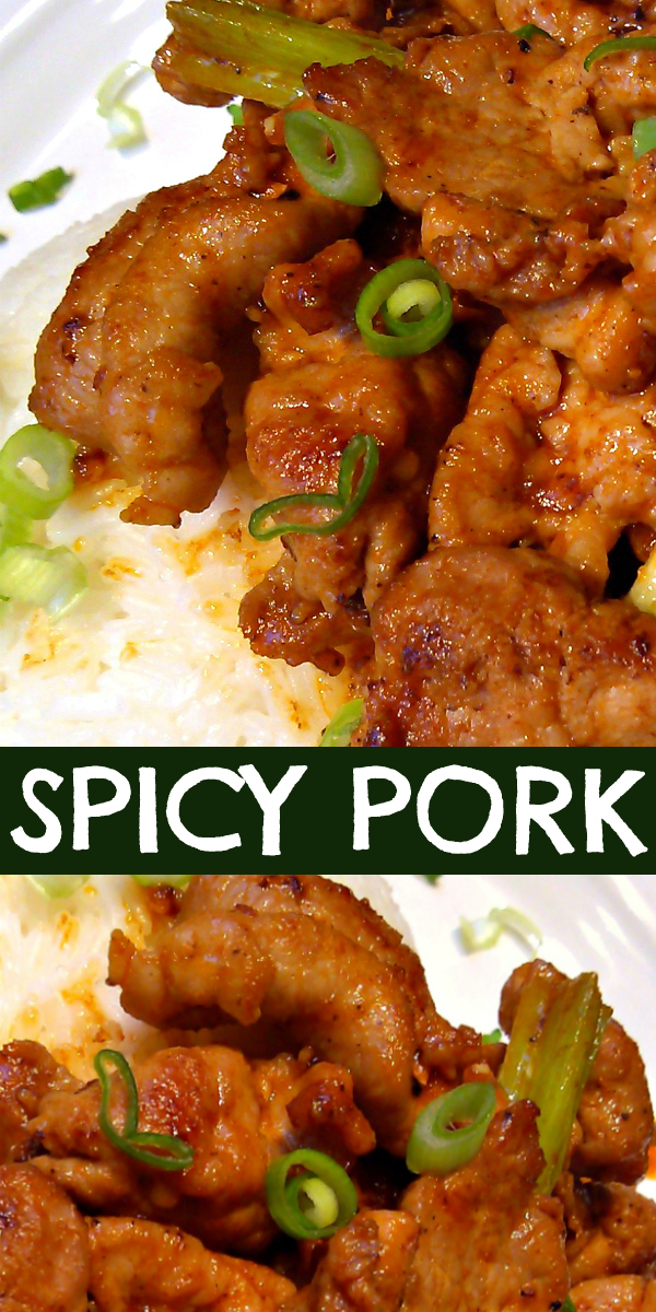 Korean-Style Spicy Pork | A super simple stir-fry recipe for Korean-style spicy pork with spicy strips of pork tenderloin, sriracha, sesame oil, ginger and garlic.