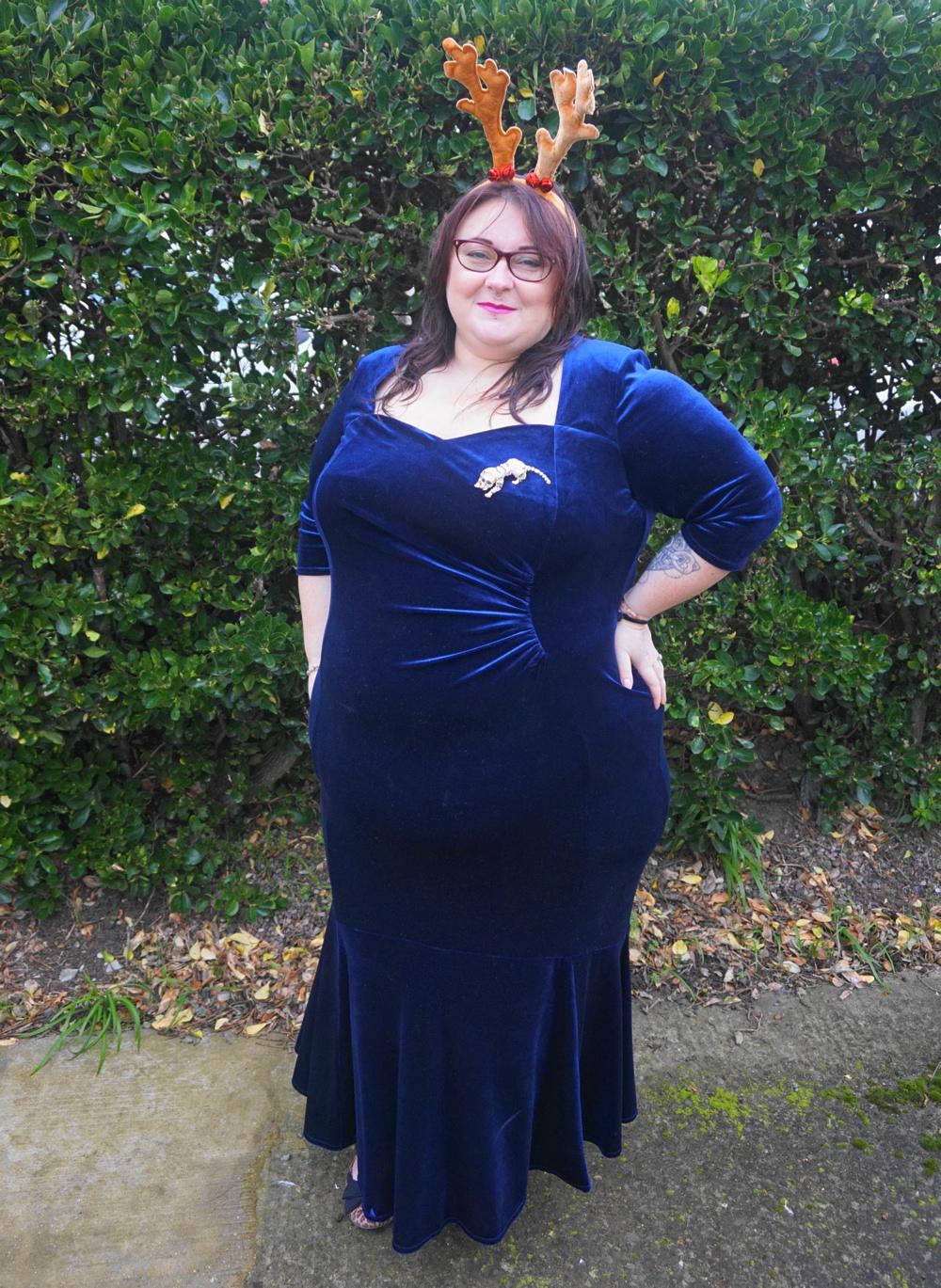 Scarlett and Jo Fishtail Velvet Maxi Dress in Midnight, deep navy plus size dress occasion dress Christmas dress party dress ball gown