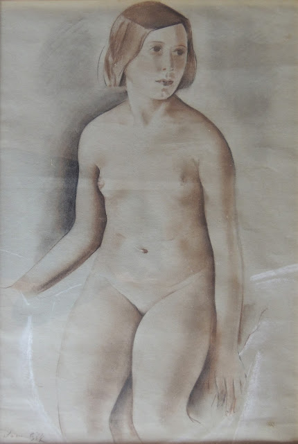 Joan Gil arte moderno dibujo al carboncillo retrato desnudo