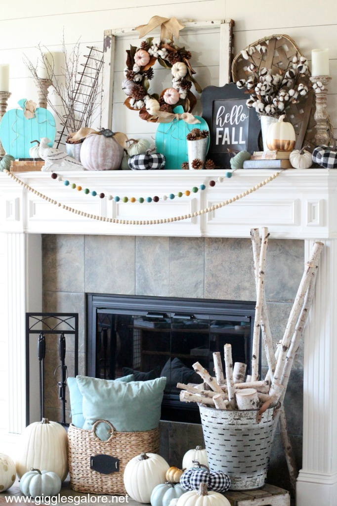Colorful farmhouse style fireplace decorating ideas