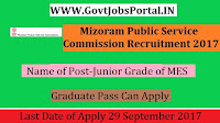 Mizoram Public Service Commission Recruitment – Junior Grade of MES