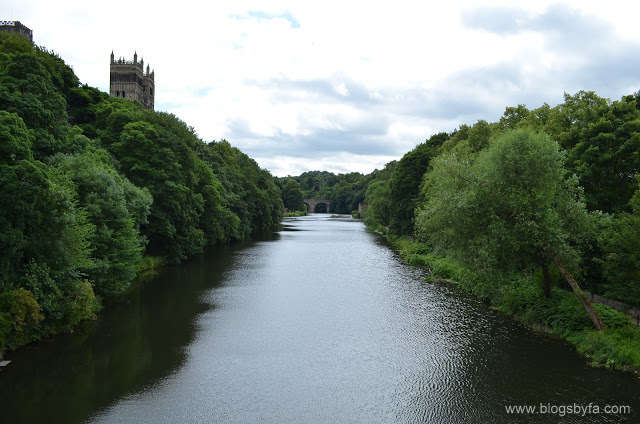 Durham town centre Elvet bridge and Durham Cathedral