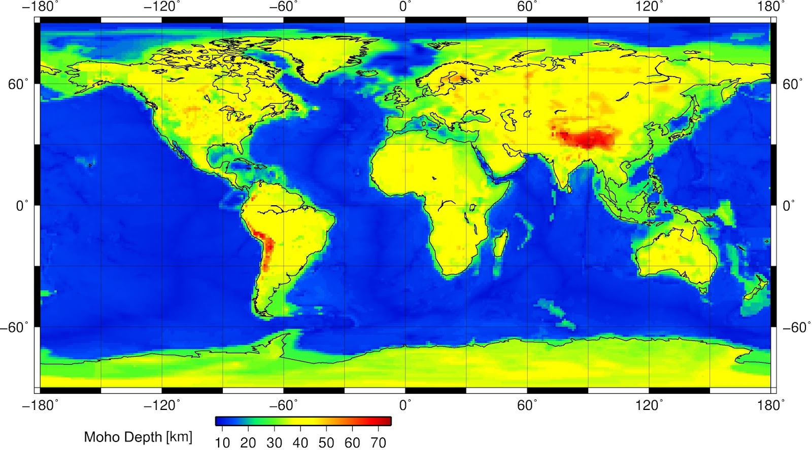Depth of the Mohorovičić discontinuity (between the Earth's crust and the mantle)