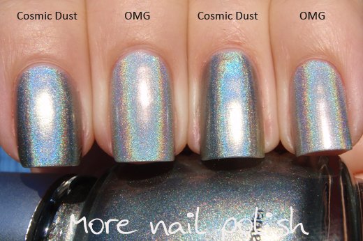 As You Can See Is A Lighter Silver And The Darkness Of Cosmic Dust Really Shows On Sides Nails But Holo Pigment In Both Actually