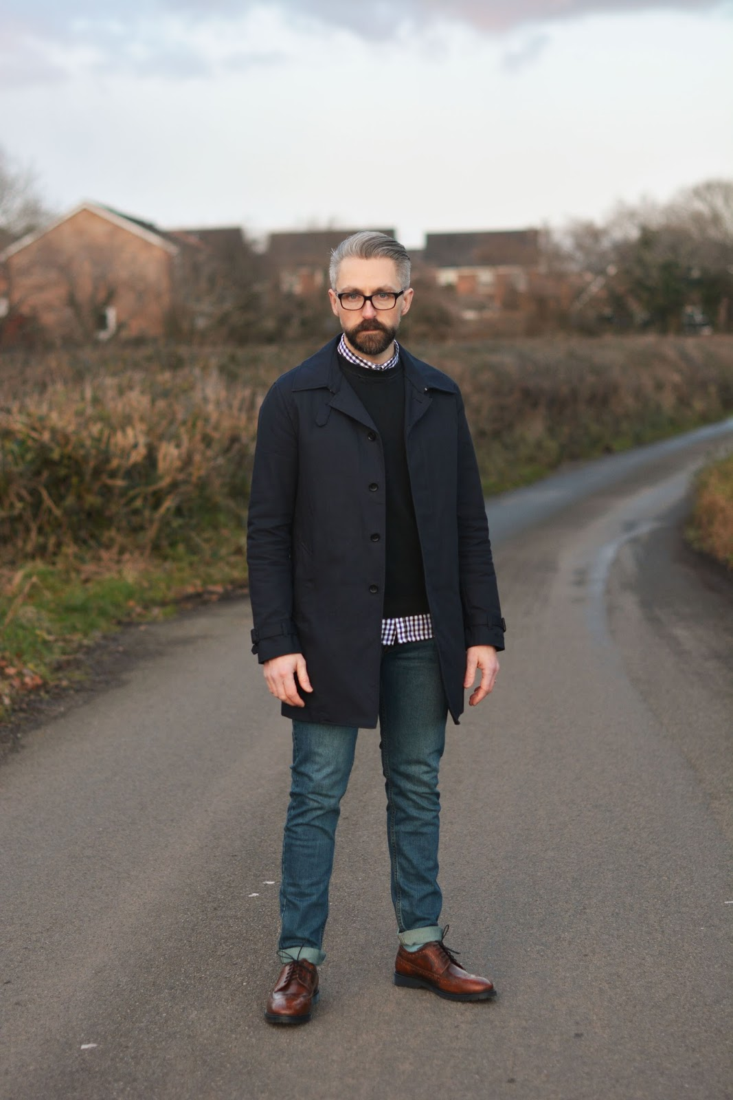 How To Style A Classic Men 39 S Navy Raincoat Over 40 Smart Casual Menswear Silver Londoner