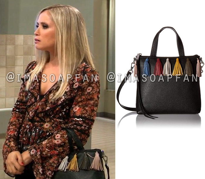 6661c66829b7bb Lulu Spencer Falconeri s Black Handbag with Multicolored Tassels - General  Hospital