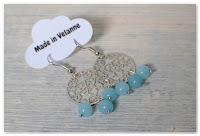 boucles d'oreilles estampes étoilées et perles bleues