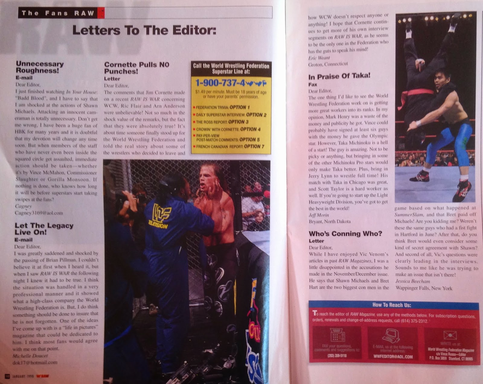 WWE: WWF RAW MAGAZINE - January 1998 - Letters to the editor