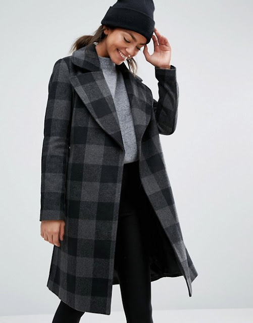 new look green check coat, green check coat, new look check coat, checked coat,
