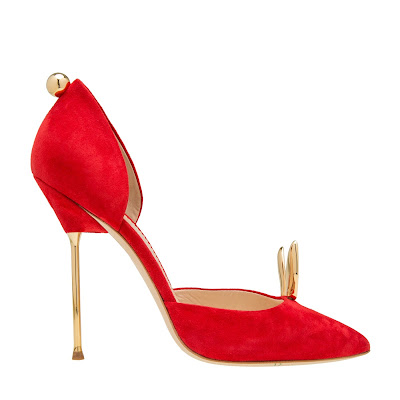 Giulia Percudani Red Suede Bunny High Heel Dorsay Pumps