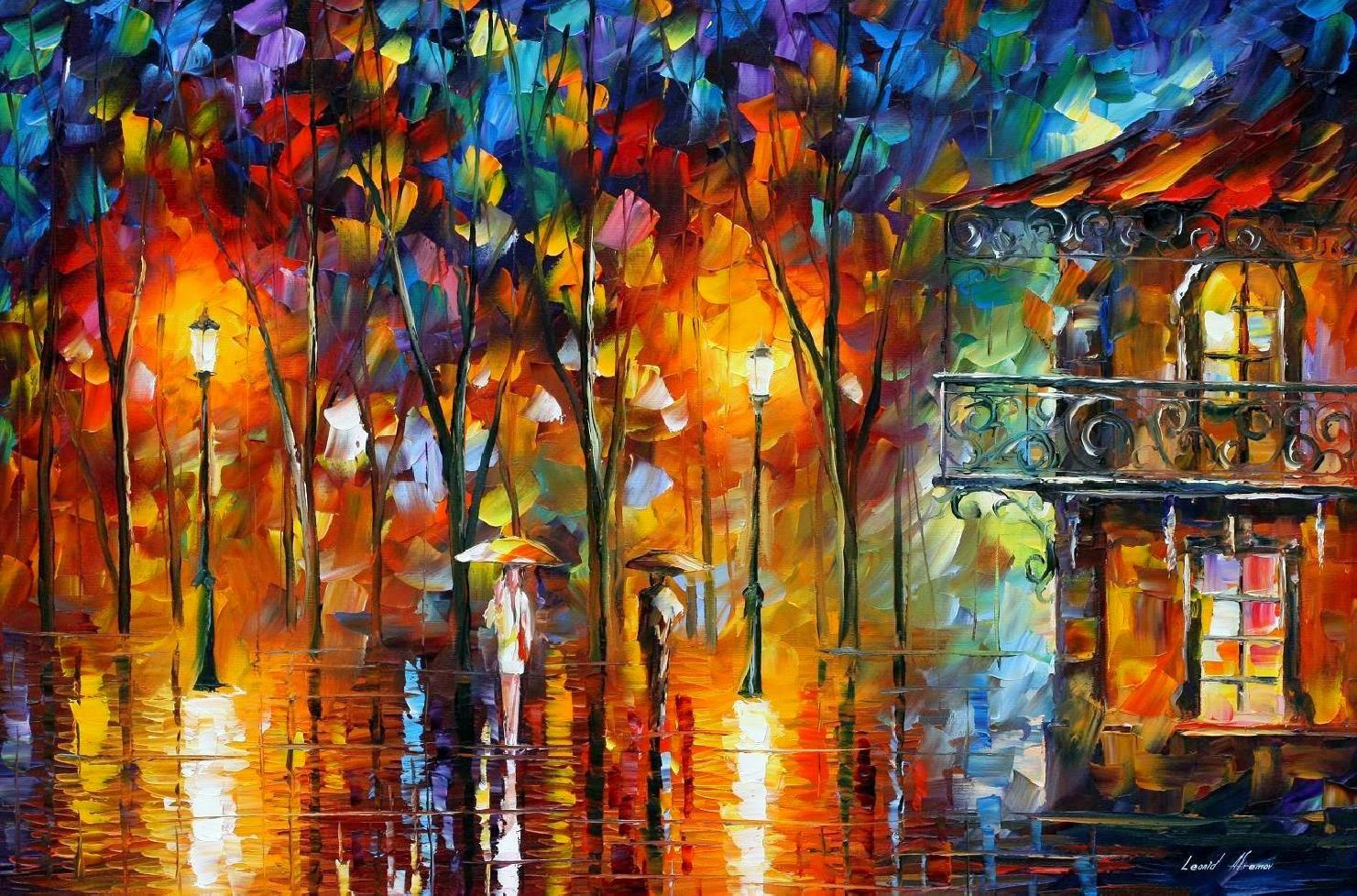 Energia na Chuva - Pinturas de Leonid Afremov | O mestres da  espátula